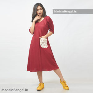 Maroon Patched Kurti Dress