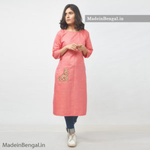 Patch Pocket Pink Cotton Kurti