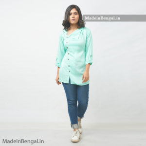 Cyan Shade SideCut Semi-Formal Women Cotton Shirt