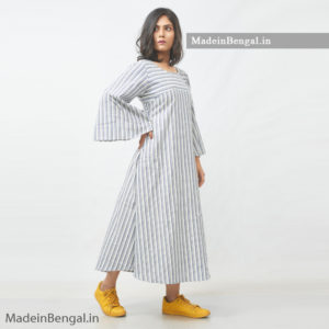 Grey Striped Tow Cotton Dress