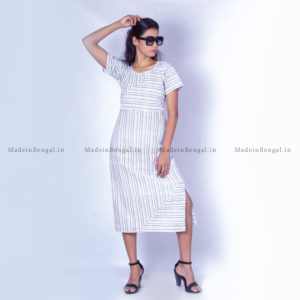 Grey Striped Peep Back Cotton Dress
