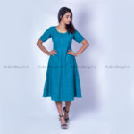 Blue Striped Bell Dress in Cotton