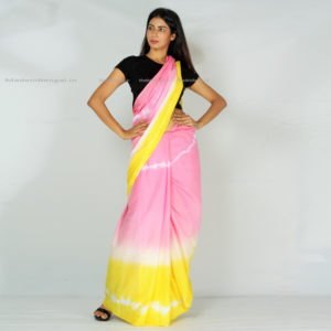 Yellow Strawberry Cotton Saree